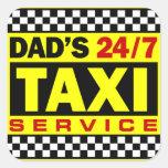 Servicio del taxi del papá pegatinas cuadradases personalizadas