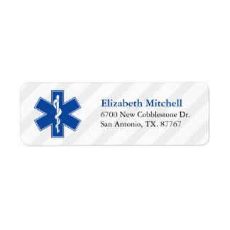 Servicios médicos de la emergencia etiqueta de remitente