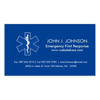 Servicios médicos de la emergencia tarjetas de visita