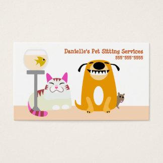 Servicios que se sientan del mascota tarjeta de negocios