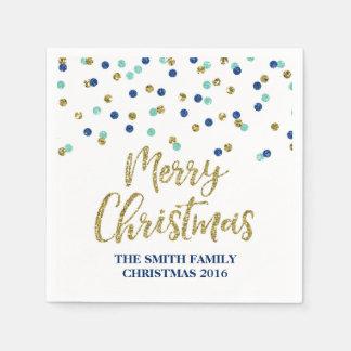 Servilleta azul de las Felices Navidad del confeti Servilletas De Papel