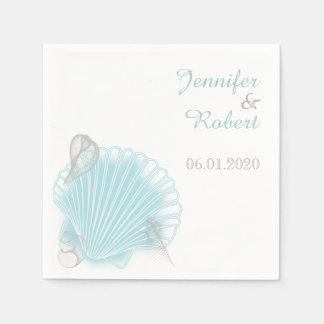 Servilleta azul del boda de playa del Seashell Servilletas Desechables