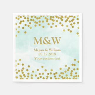 Servilleta azul del boda del confeti del oro de la servilletas de papel