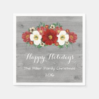 Servilleta de encargo del navidad de las flores servilleta de papel