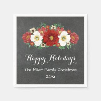 Servilleta de encargo del navidad de las flores servilletas desechables