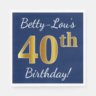 Servilleta De Papel 40.o cumpleaños del oro azul, falso + Nombre de