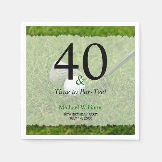 Servilleta De Papel 40.o Fiesta de cumpleaños del golf personalizada