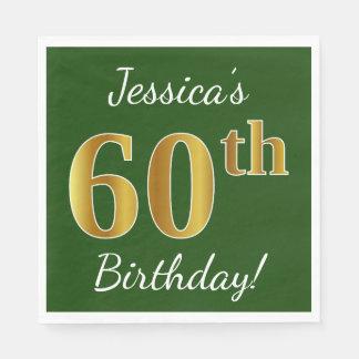 Servilleta De Papel 60.o cumpleaños del oro verde, falso + Nombre de