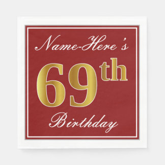 Servilleta De Papel 69.o cumpleaños elegante del oro rojo, falso +