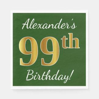 Servilleta De Papel 99.o cumpleaños del oro verde, falso + Nombre de