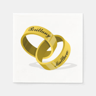Servilleta De Papel Anillos de bodas que entrelazan - nombres de