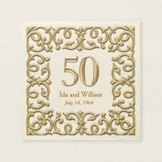 Servilleta De Papel Aniversario adornado del marco 50.o del oro