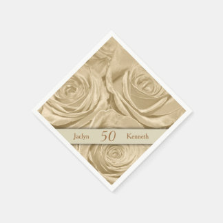 Servilleta De Papel Aniversario de boda de oro de los rosas de Champán