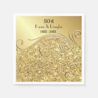 Servilleta De Papel Aniversario de boda del oro 50.o de la chispa