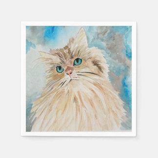 Servilleta De Papel Arte lindo de la acuarela del gato persa