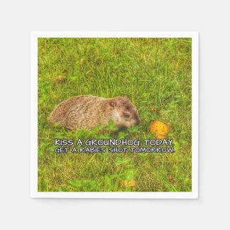 Servilleta De Papel Bese un groundhog hoy. Consiga las servilletas de