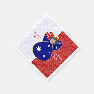 Servilleta De Papel Blanco rojo australiano del pelo negro de la