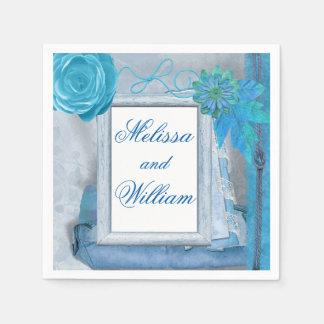 Servilleta De Papel Boda rústico azul hermoso