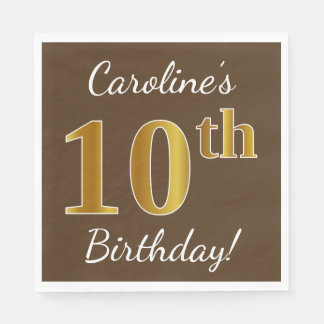 Servilleta De Papel Brown, 10mo cumpleaños del falso oro + Nombre de