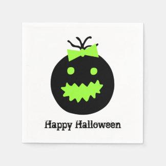 Servilleta De Papel Calabaza linda de Halloween con el arco