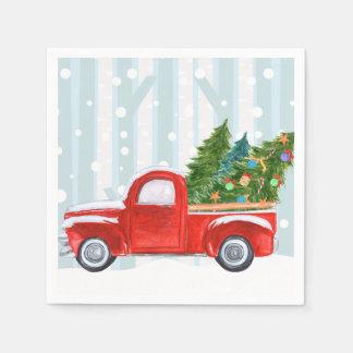 Servilleta De Papel Camioneta pickup roja del navidad en un camino