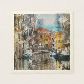 Servilleta De Papel Canales de la acuarela de Venecia Italia
