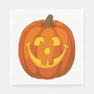 Servilleta De Papel Cara torpe feliz de la calabaza de Halloween de la