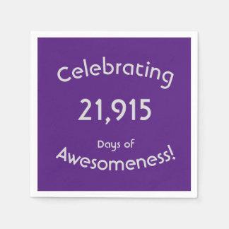 Servilleta De Papel Celebración de 21.915 días de cumpleaños de