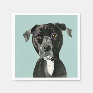 """Servilleta De Papel """"Comtemplando"""" la pintura del perro del pitbull"""