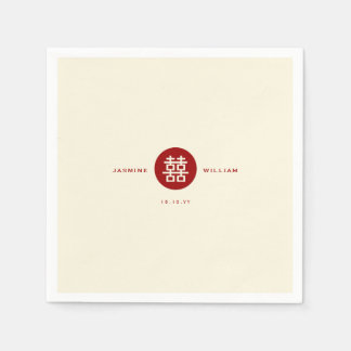 Servilleta de papel del boda chino doble rojo de