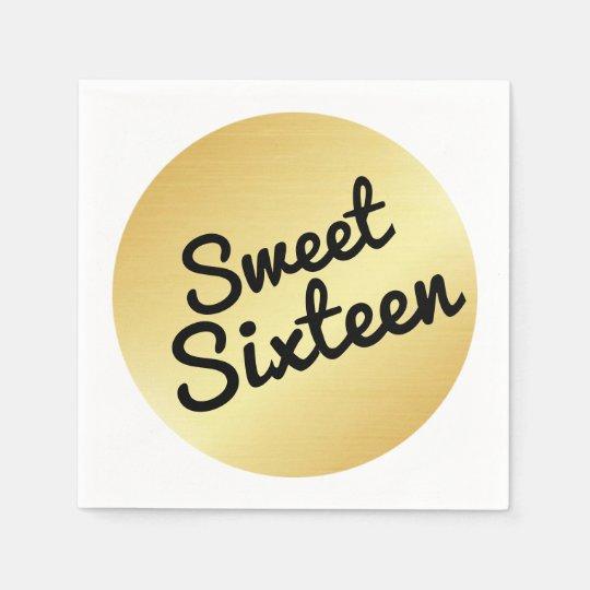 Servilleta de papel del dulce dieciséis del oro