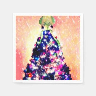 Servilleta de papel del feliz árbol de navidad del