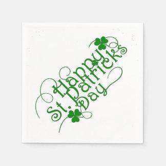 Servilleta De Papel Día feliz del St Patricks en la escritura de