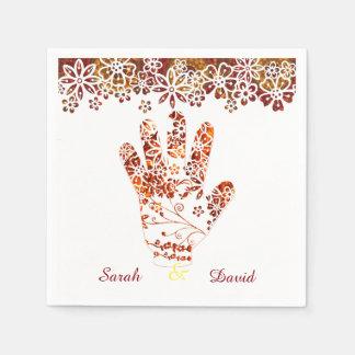 Servilleta De Papel Diseño adornado adornado de la mano de la alheña