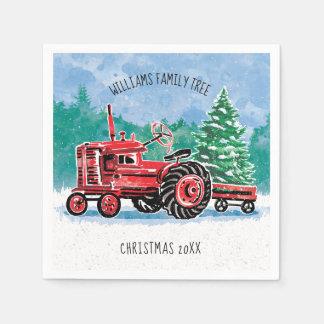 Servilleta De Papel El árbol de navidad rojo del tractor del vintage