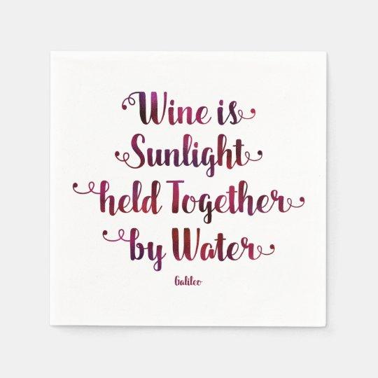 Servilleta De Papel El vino es servilletas de la cita de la luz del