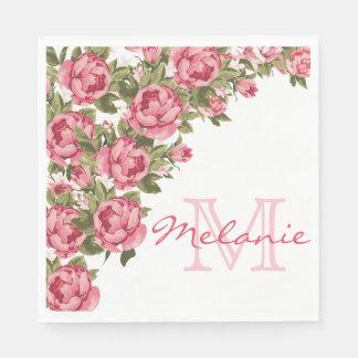 Servilleta De Papel El vintage se ruboriza los Peonies rosados nombre,