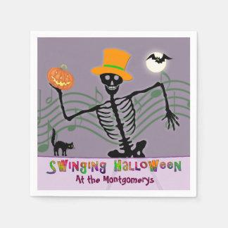 Servilleta De Papel Esqueleto de balanceo del fiesta de Halloween