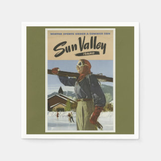 Servilleta De Papel Esquí del viaje del vintage