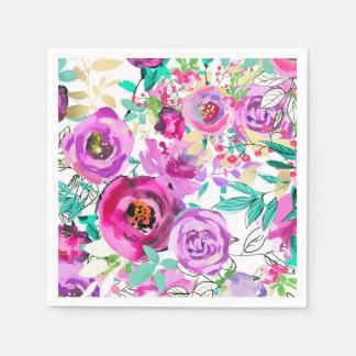 Servilleta De Papel Estampado de flores moderno colorido brillante