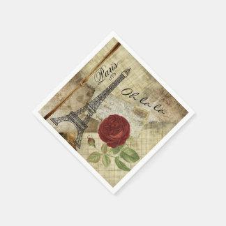 Servilleta De Papel Estilo clásico de París del vintage - rosa rojo