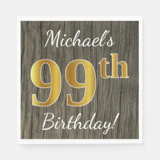 Servilleta De Papel Falsa madera, 99.o cumpleaños del falso oro +
