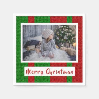 Servilleta De Papel Felices Navidad en hacer punto la foto roja y