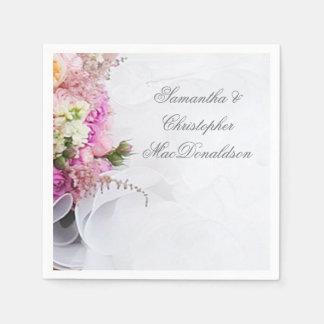 Servilleta De Papel Flores rosadas y blancas y vestido de boda