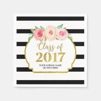 Servilleta De Papel Graduación floral rosada 2017 de las rayas negras