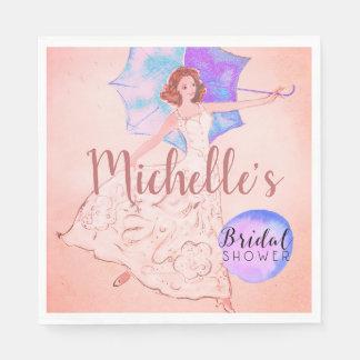 Servilleta De Papel Ilustracion nupcial rosado caliente de la novia de