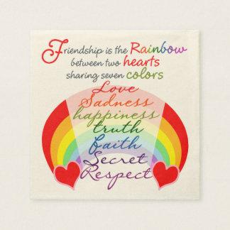 Servilleta De Papel La amistad es el arco iris BFF que dice diseño
