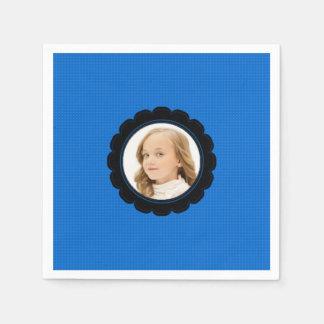 Servilleta De Papel La flor del negro azul substituye imagen