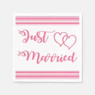 Servilleta De Papel Las rayas rosadas y blancas acaban de casar al