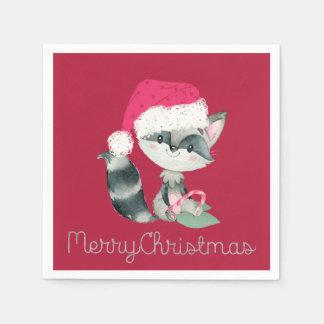 Servilleta De Papel Mapache lindo del navidad y Felices Navidad